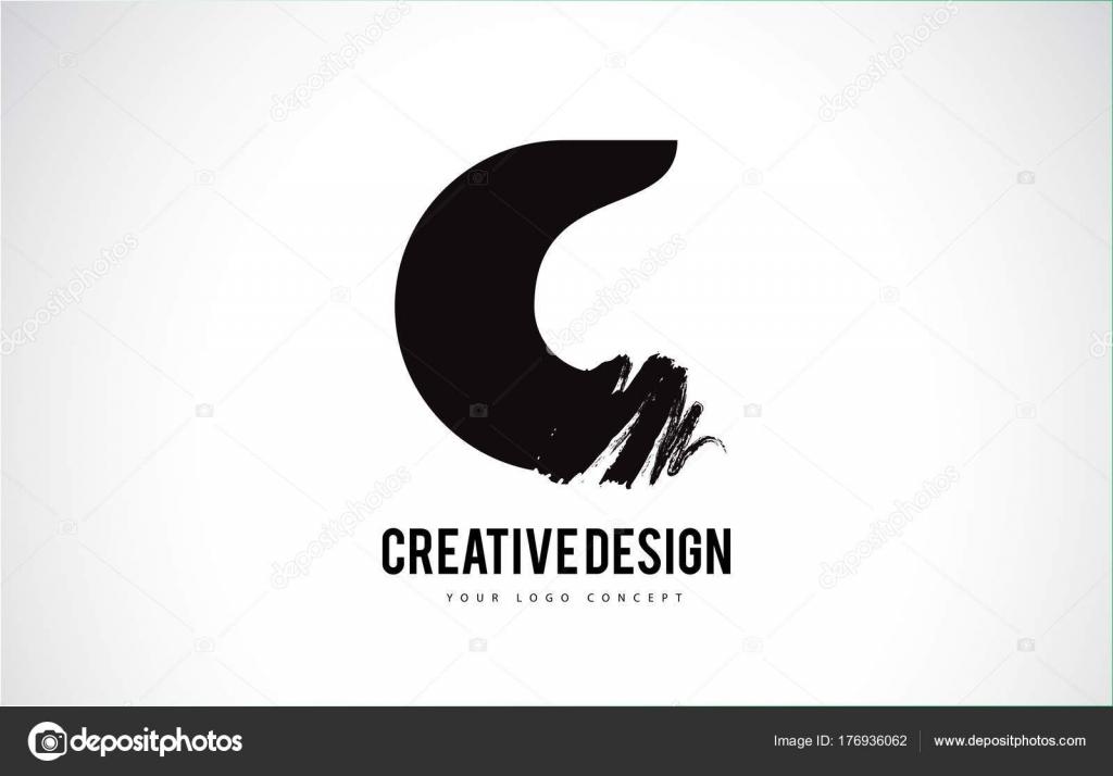 C Lettre Logo Design De Peinture Pinceau Artistique