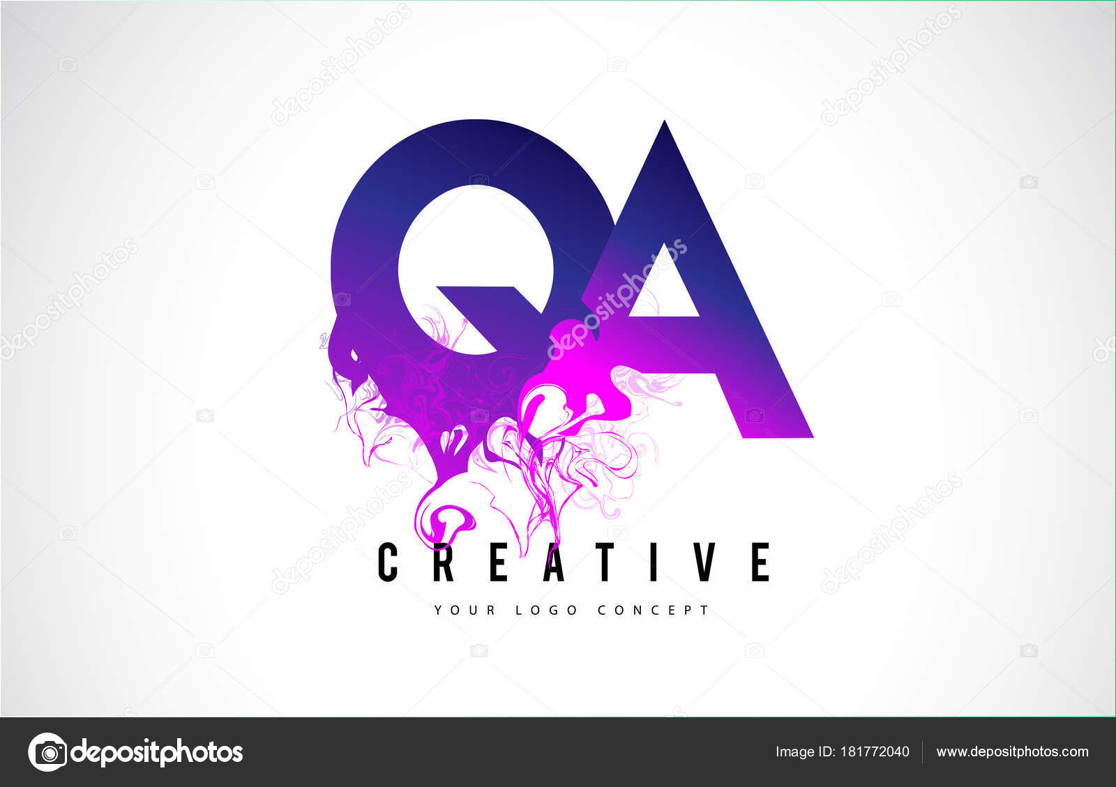 qa q a purple letter logo design with liquid effect flowing stock