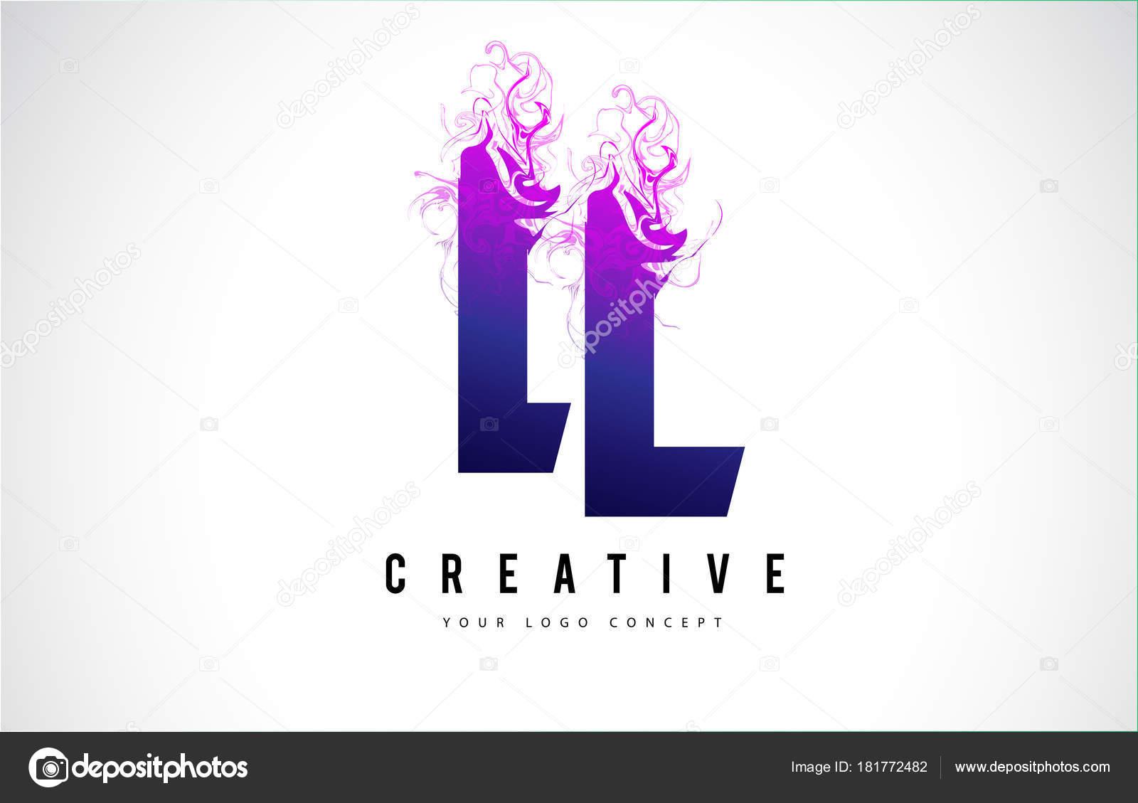 LL L L Purple Letter Logo Desi...