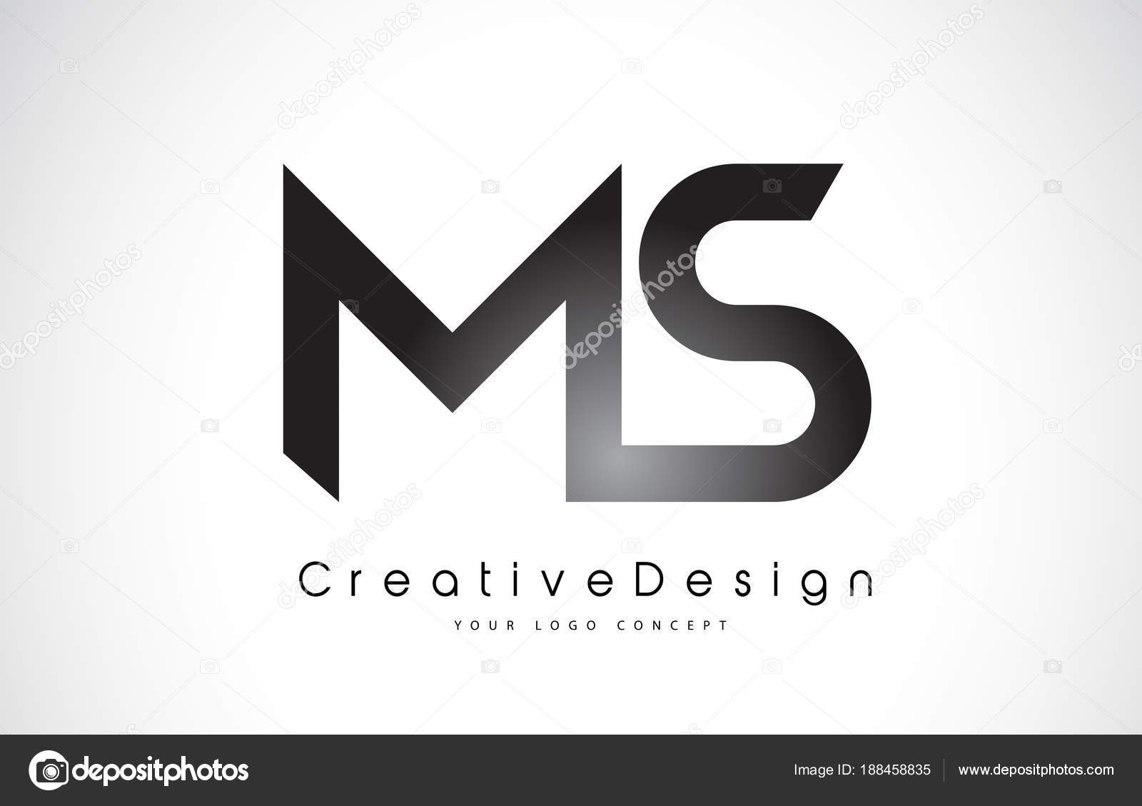 ms m s letter logo design creative icon modern letters vector l