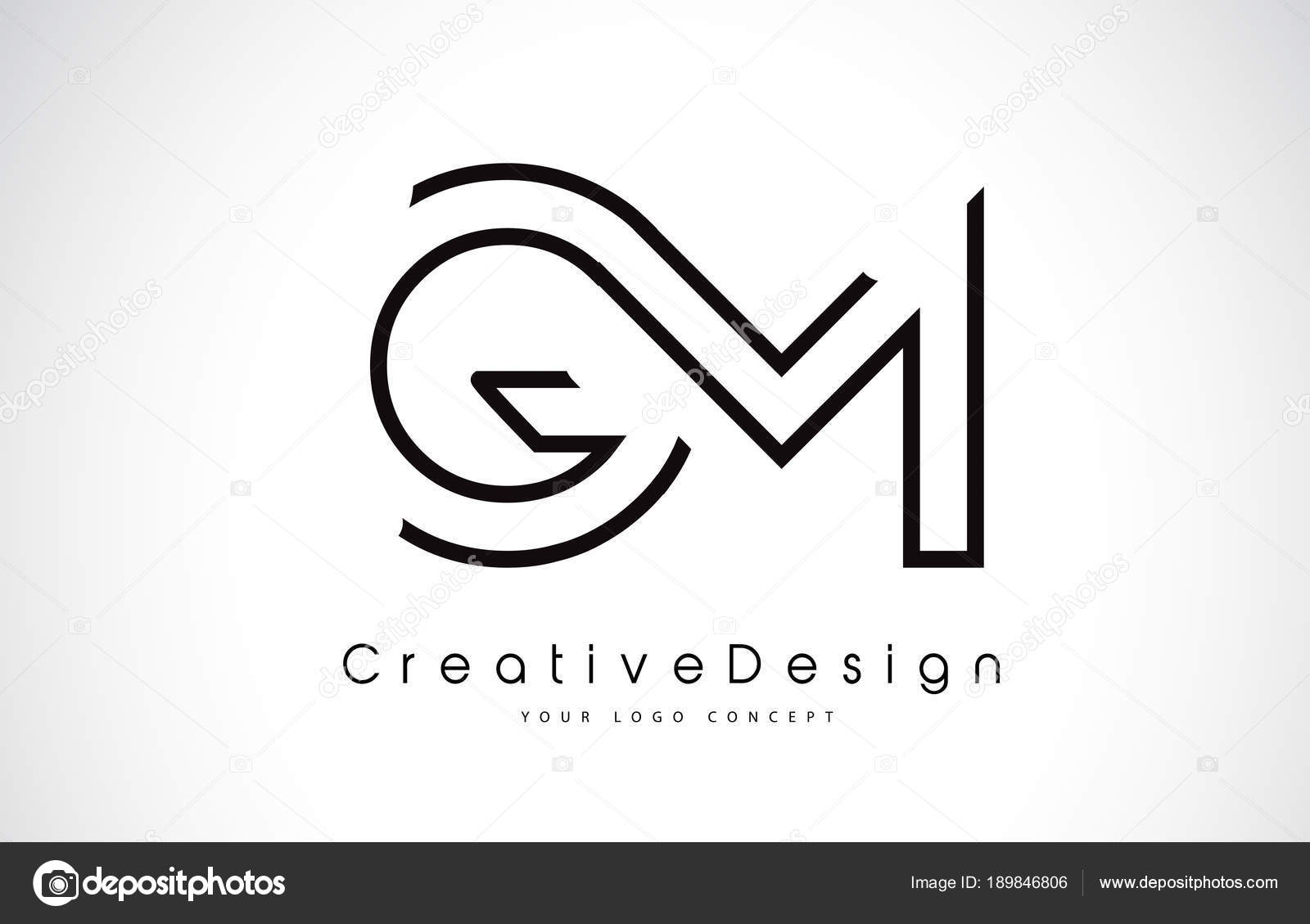 Gm G M Letter Logo Design In Black Colors Stock Vector