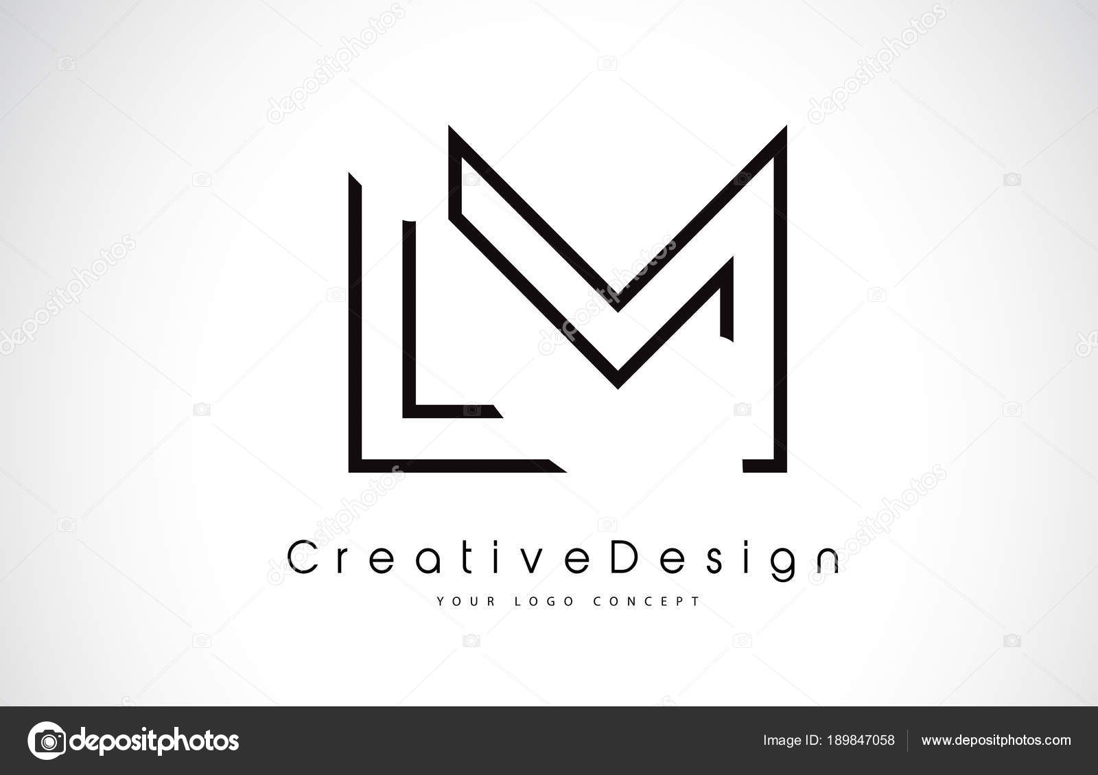 lm l m letter logo design in black colors stock vector