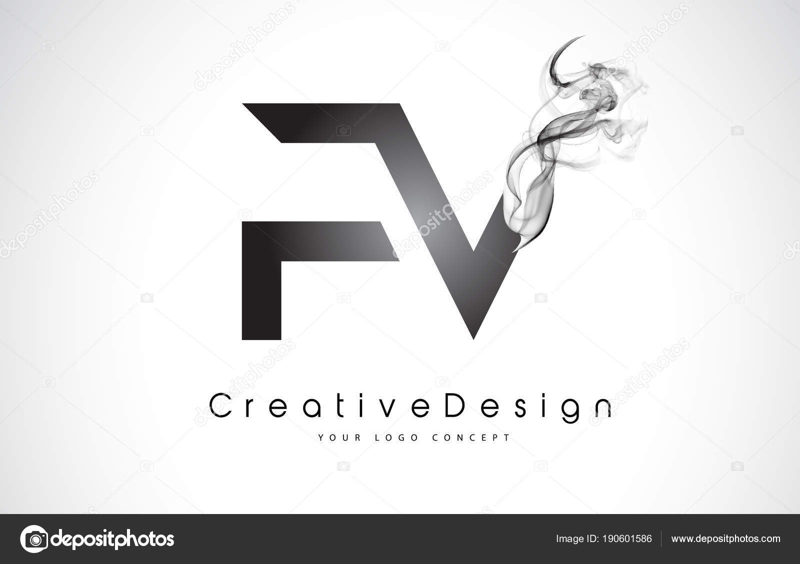 fv letter logo design with black smoke stock vector