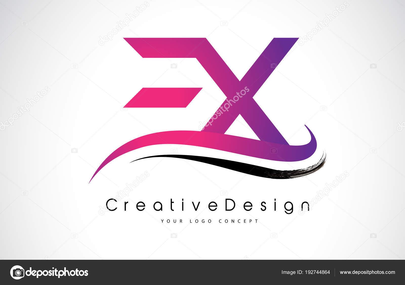 ex e x letter logo design creative icon modern letters vector l