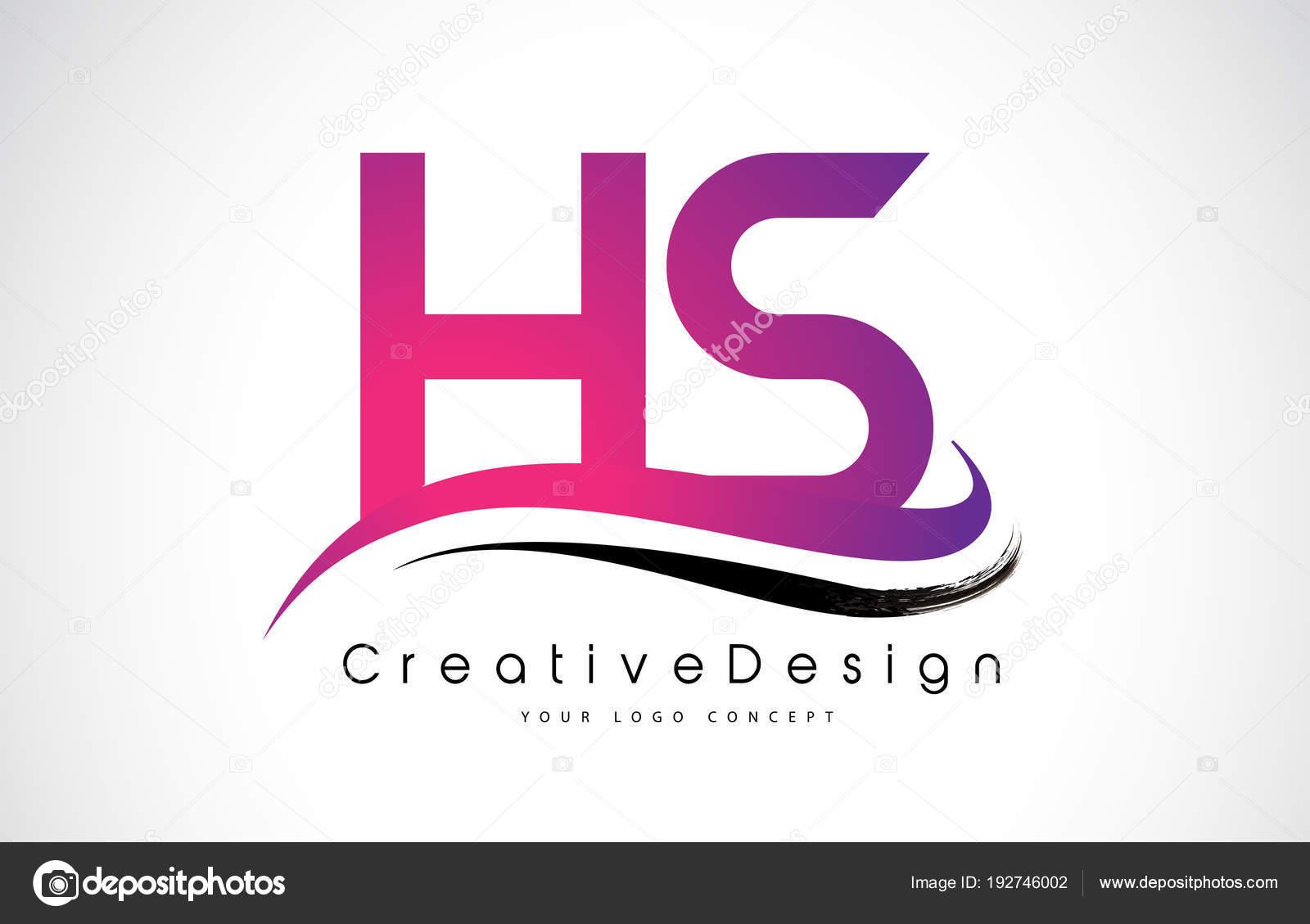 hs h s letter logo design creative icon modern letters vector l