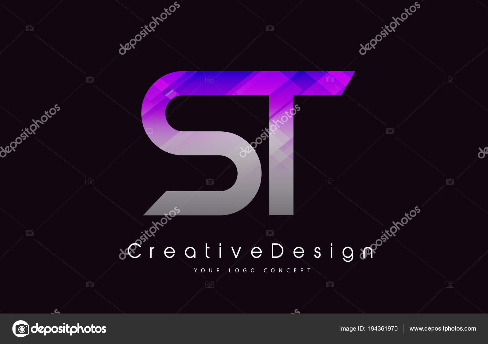 St Letter Logo Design Purple Texture Creative Icon Modern