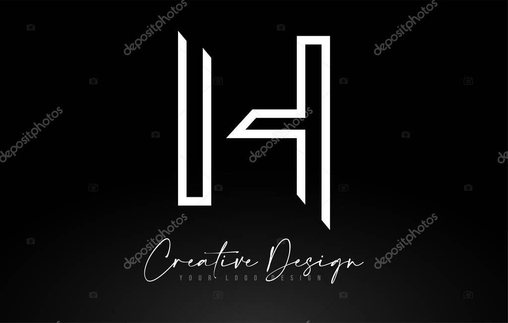 Monogram H Letter Logo design with Creative Lines Icon Design Ve