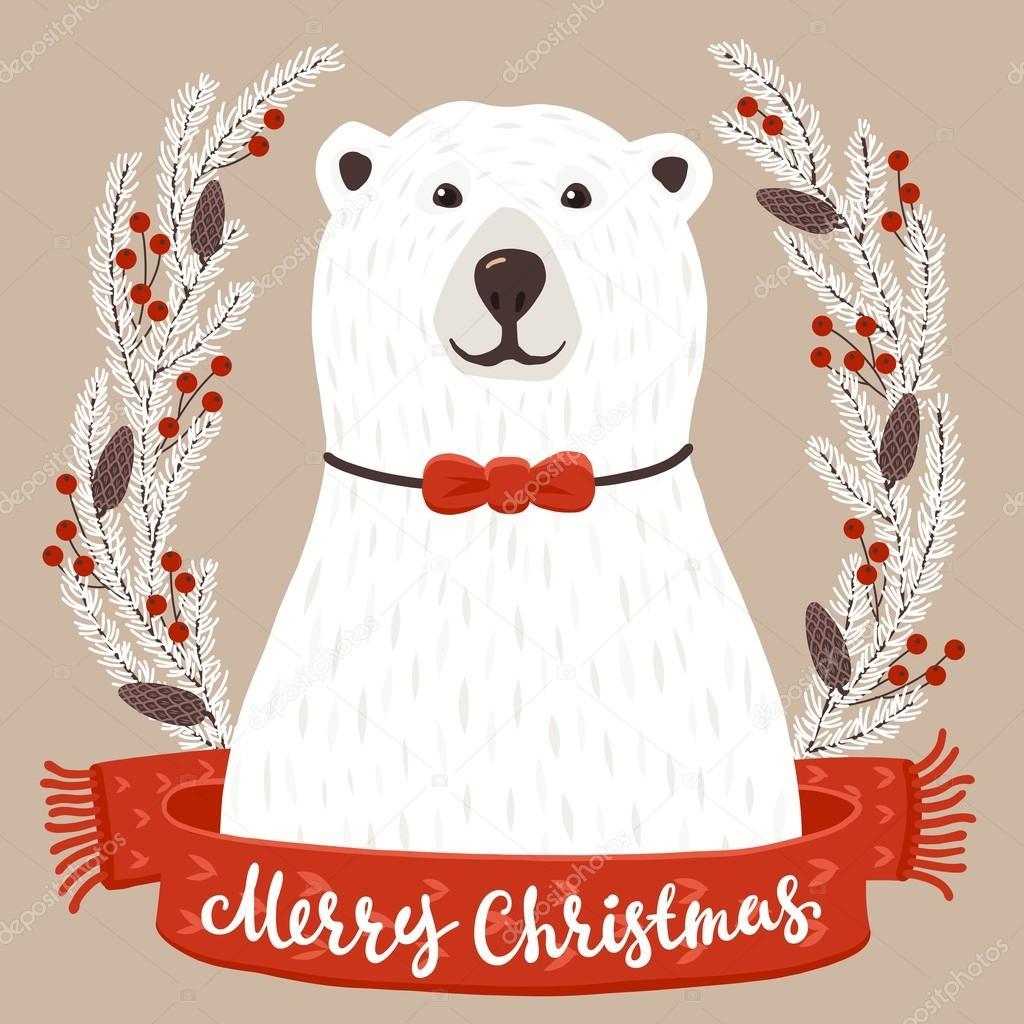 Ours Blanc Avec Inscription Joyeux Noel Image Vectorielle