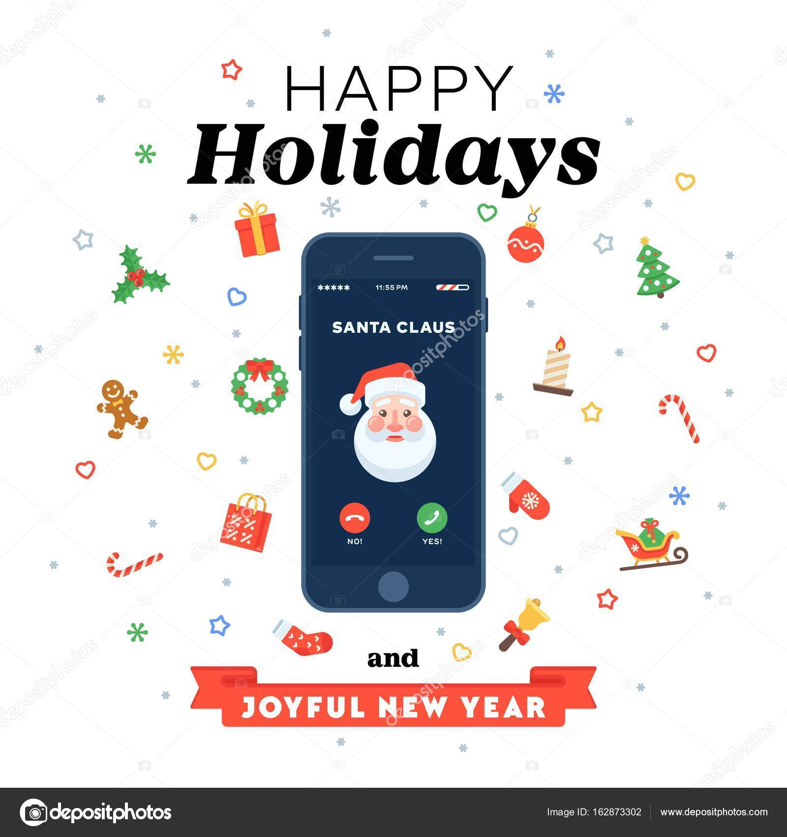 Christmas card with phone call from Santa in flat style — Stock ...