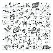 Fotografie hand drawn school supplies