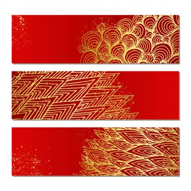 Banners with golden pattern