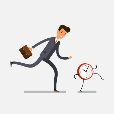 Time management concept. Businessman running for watches. stock vector