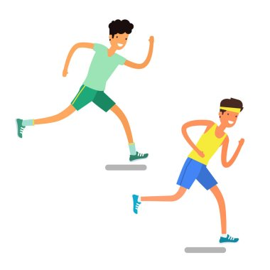 two young men running