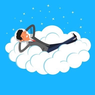 catroon businessman dreaming on cloud