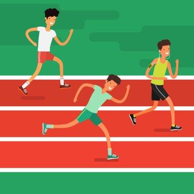 cartoon young men running