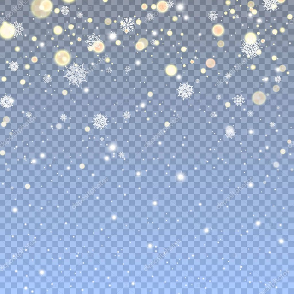 Falling Snow in transparent background.