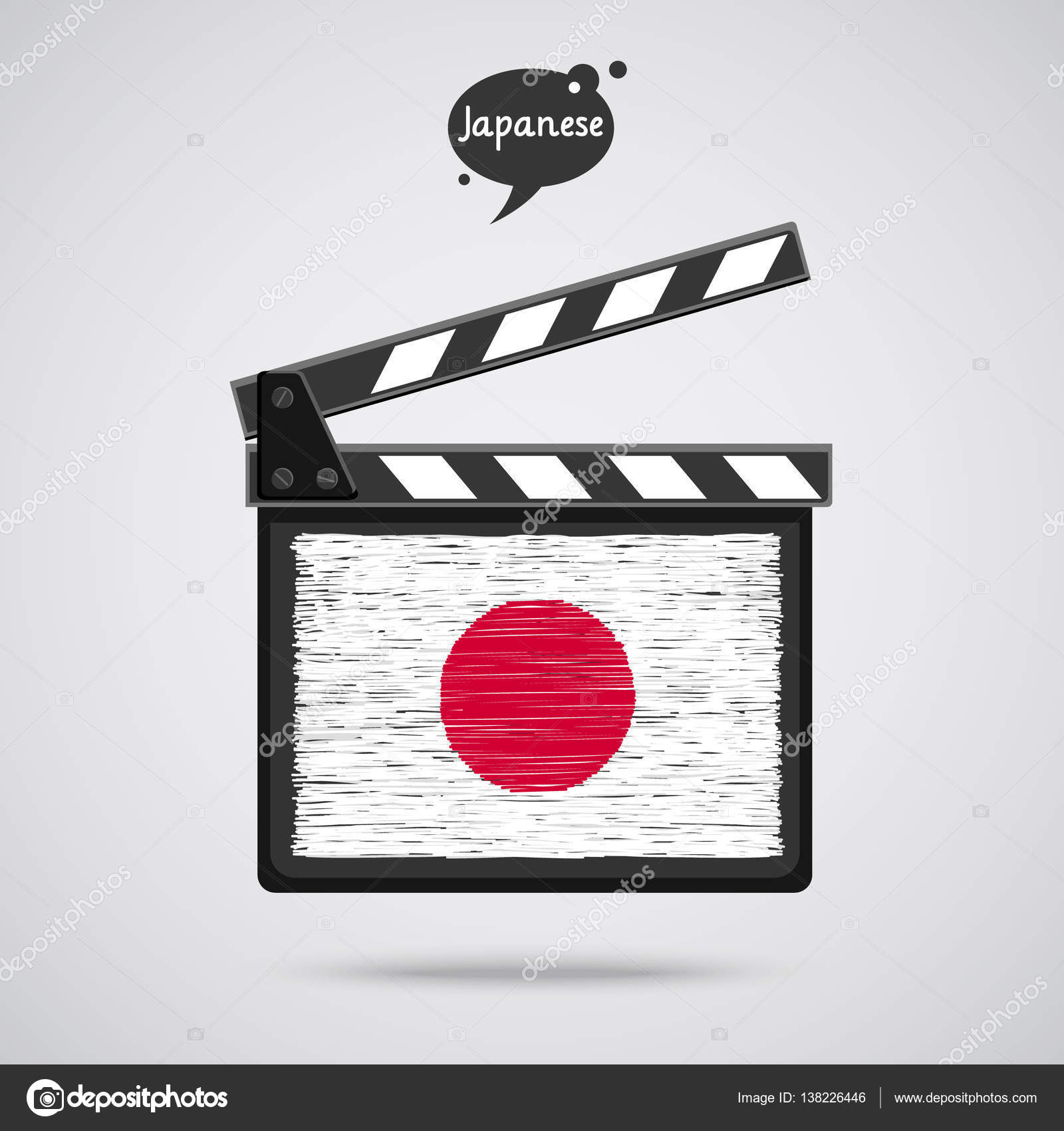 clapper board with japanese flag u2014 stock vector vectorstory