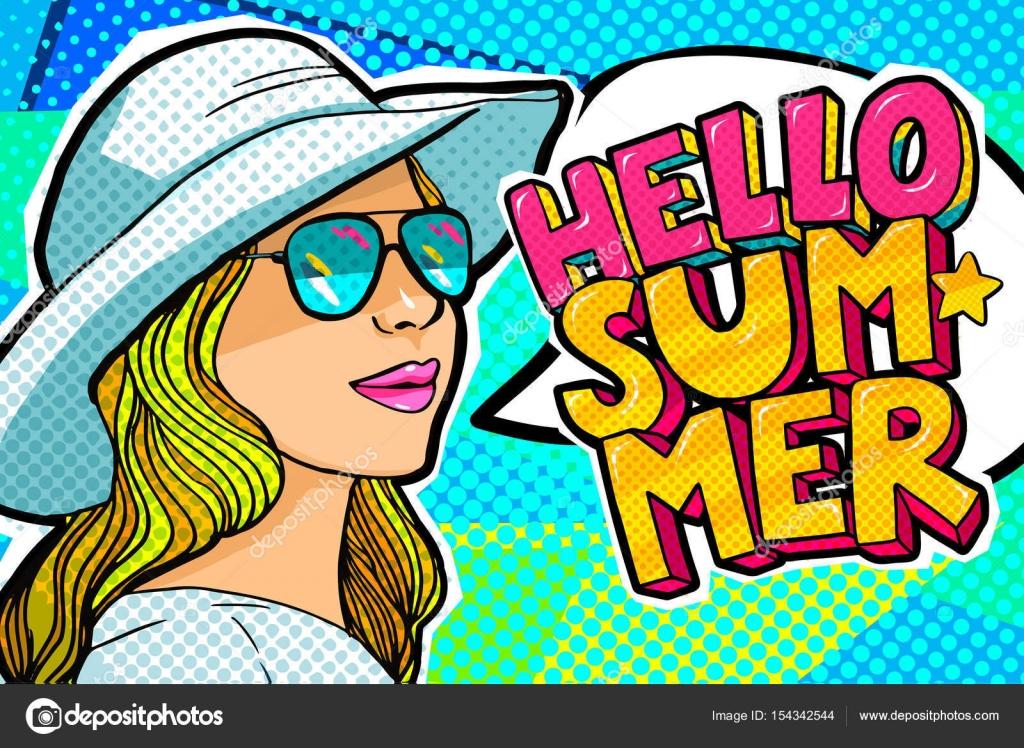 2fce54b85 Olá Verão mensagem e bela jovem mulher com um chapéu no estilo retrô pop art.  Ilustração vetorial — Vetor de ...