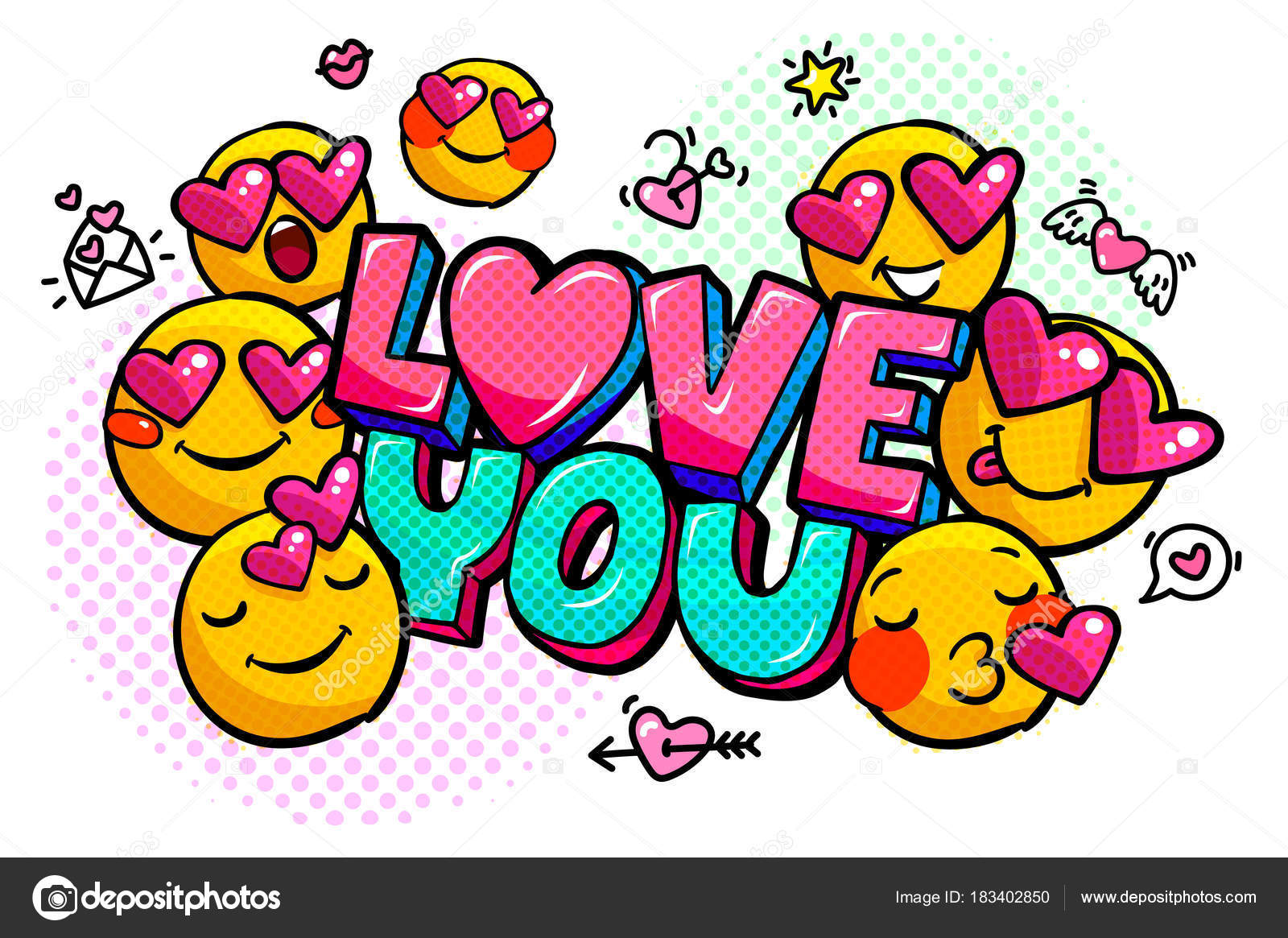 Plantillas De Emojis De Amor Amor Que Palabra Burbuja Mensaje
