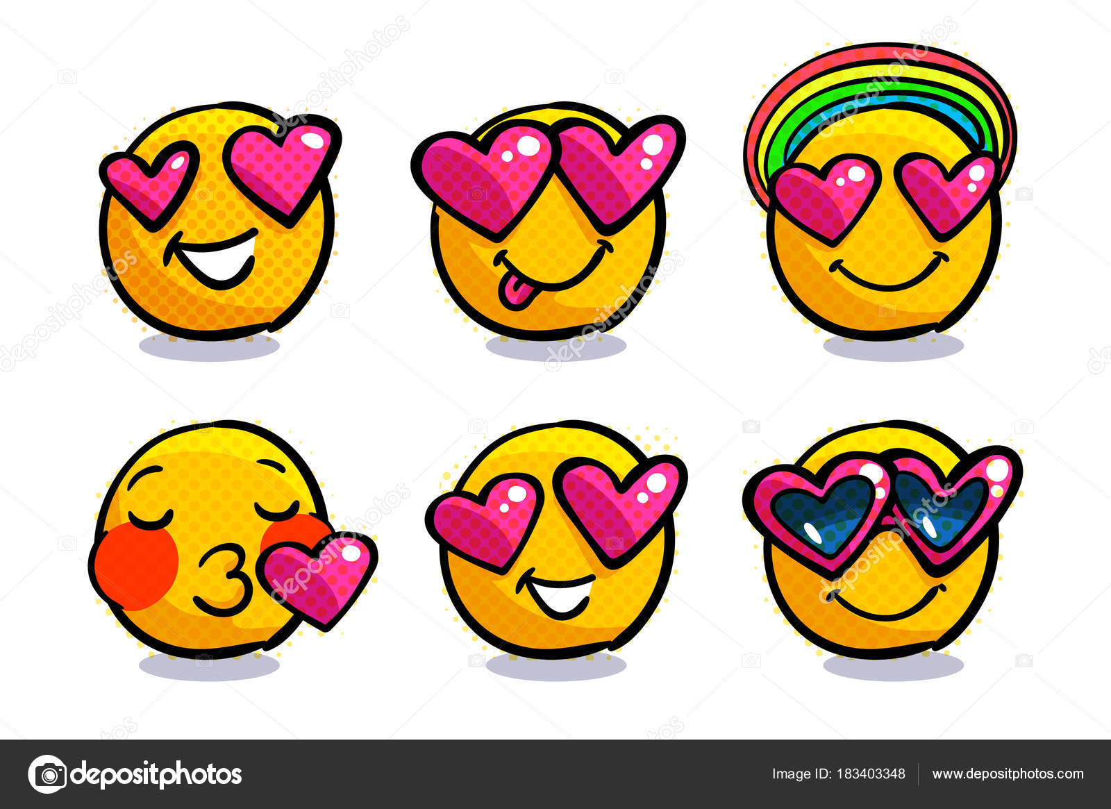 Set Cute Emoticons Love Set Valentine Emoji Smile Icons