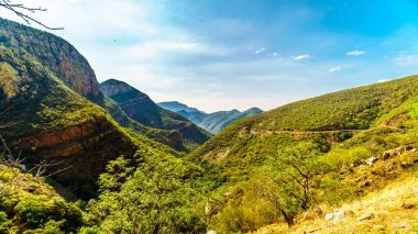View of the Valley of the Elephant from Abel Erasmus Pass with the J.G Strijdom tunnel in the distant in Limpopo Province in the northern part of South Africa
