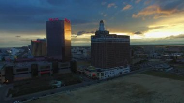 May 6, 2017 - Atlantic City, NJ, USA. Aerial. Amazing sunset at Atlantic City. Hotels and Casinos. 4K
