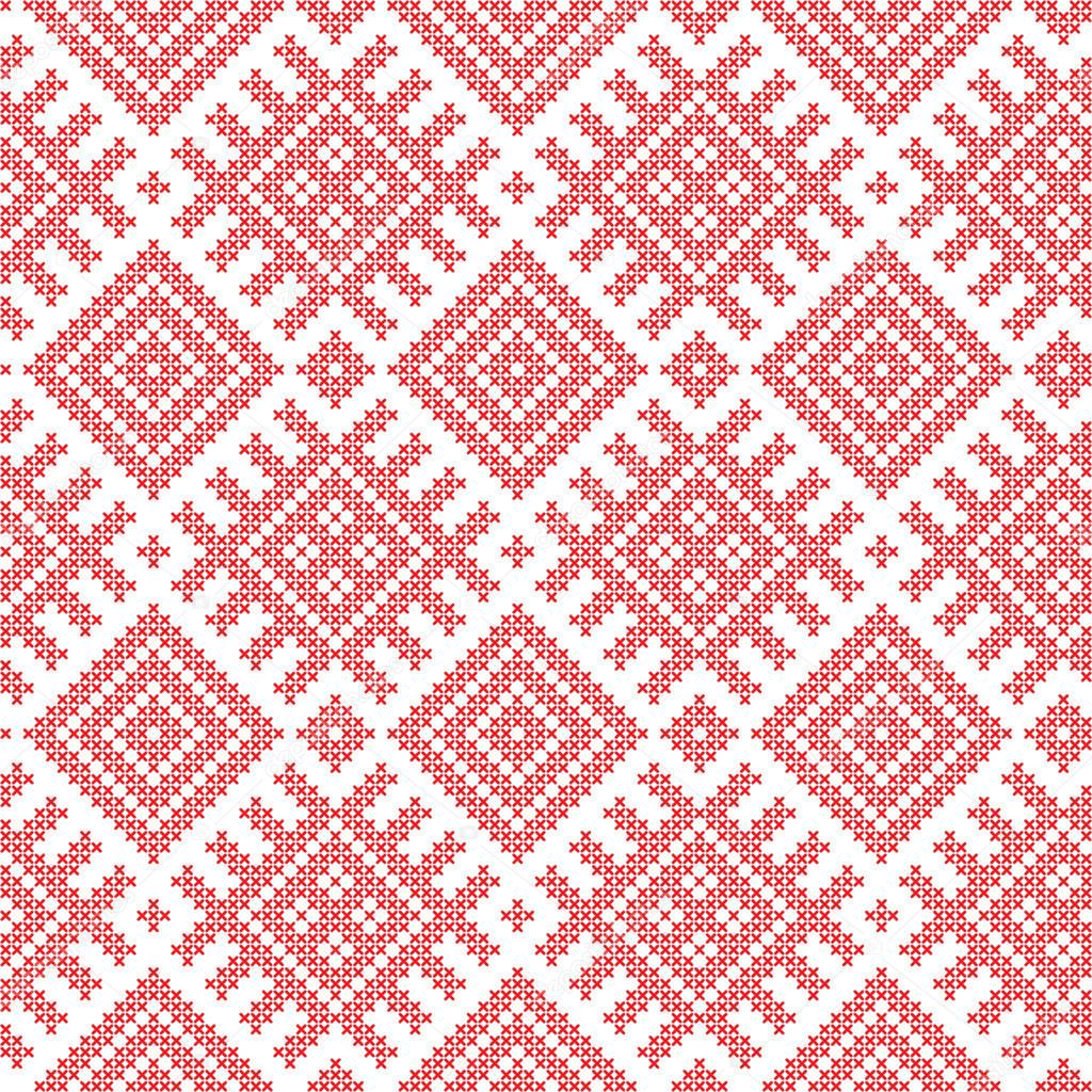 Seamless Russian folk pattern, cross-stitched embroidery imitation