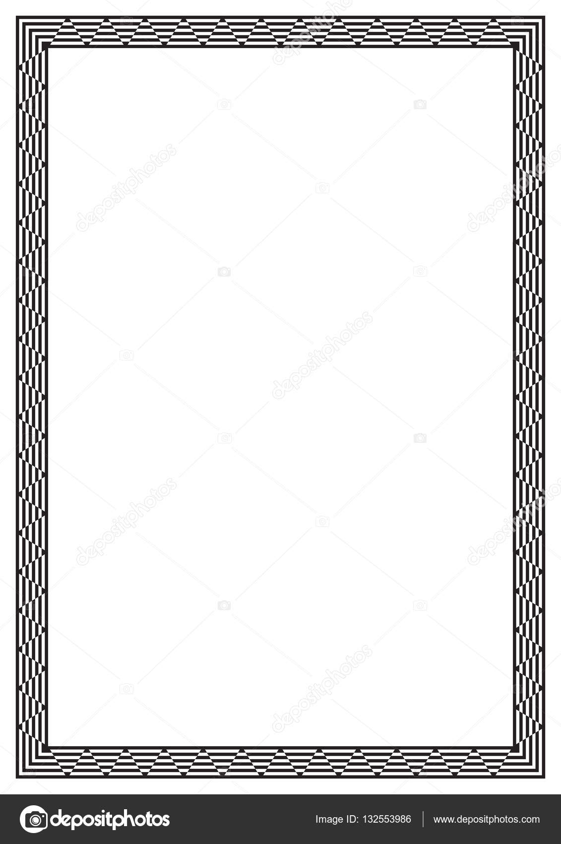 Black rectangular frame. Geometric pattern. A4 page size. — Stock ...