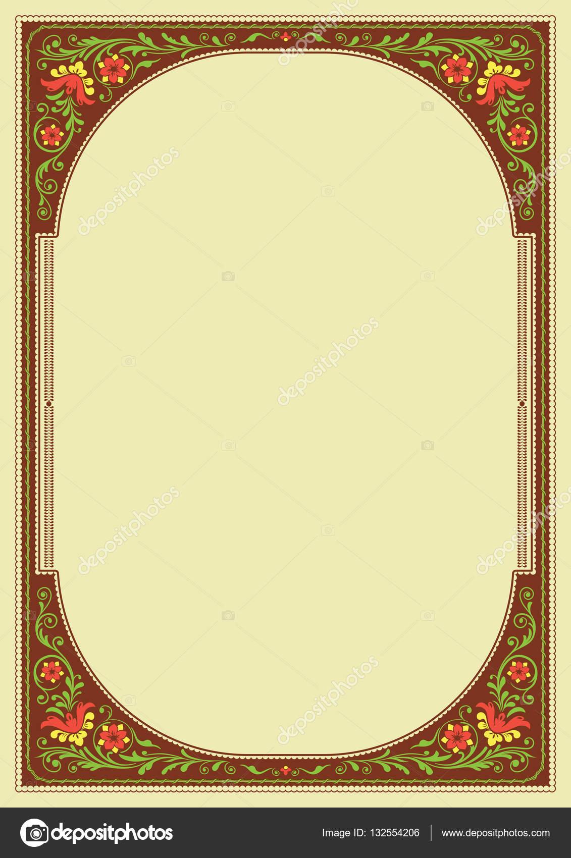 Reich verzierten Rahmen und Hintergrund mit floralem Muster. A4 ...