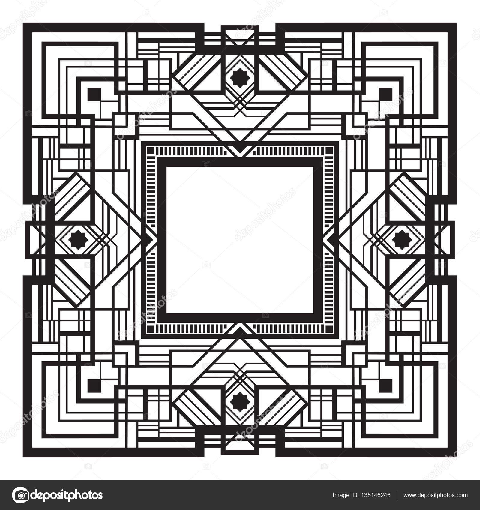 carré noir cadre rétro, style art déco des années 1920 — image
