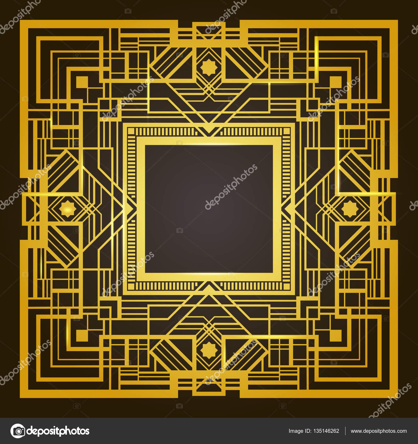 carré d'or et noir cadre rétro, style art déco des années 1920
