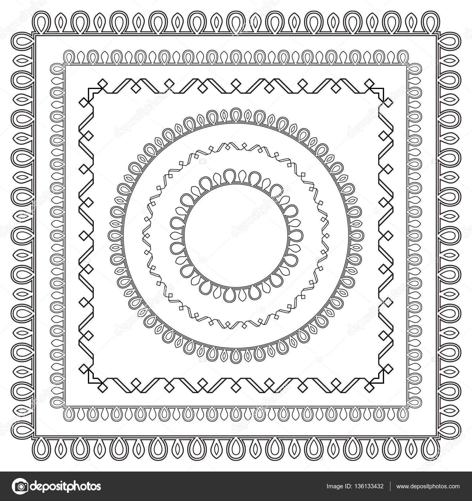Satz von schwarzen verzierten Rahmen mit Eckelemente. Musterpinsel ...