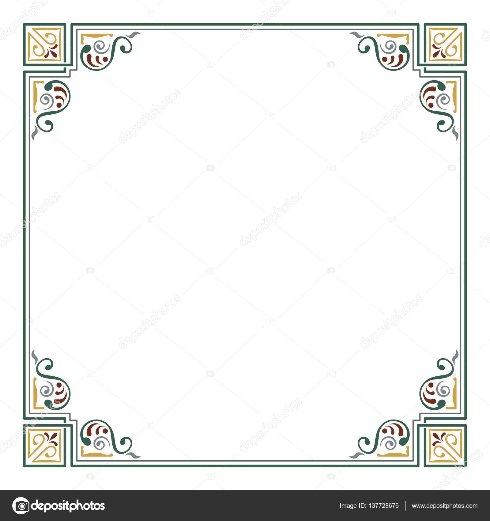 Reich verzierte quadratisch Farbe Rahmen. Ecken, Seite Dekoration ...