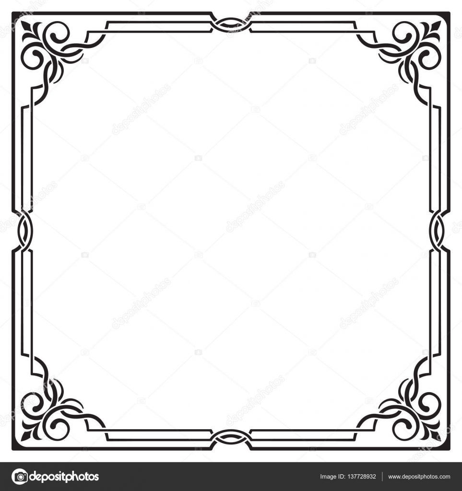 Verzierten schwarzen quadratischen Rahmen, Ecken. Visuell ...
