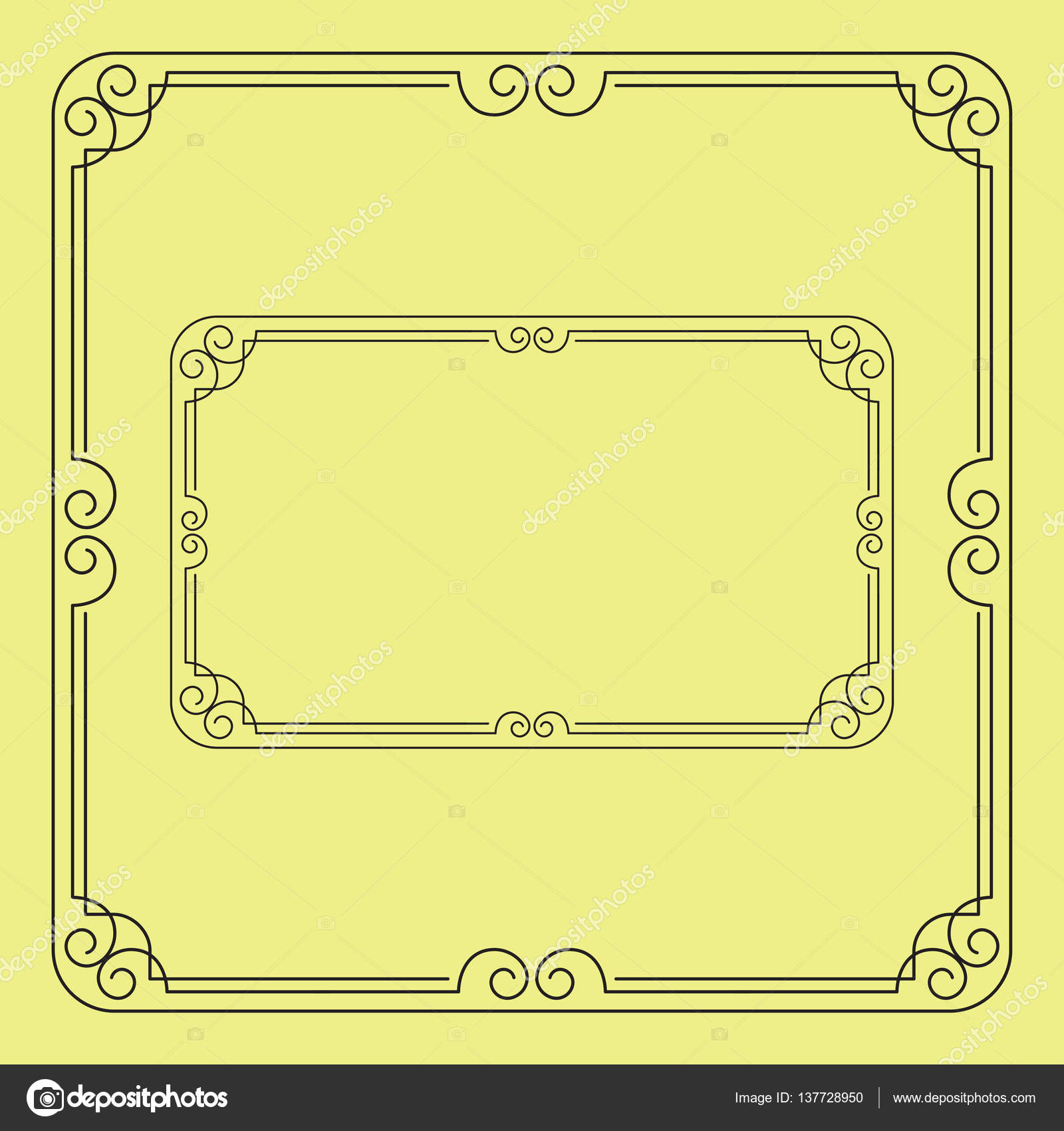 Ornate black square and rectangular frames, corners for page ...