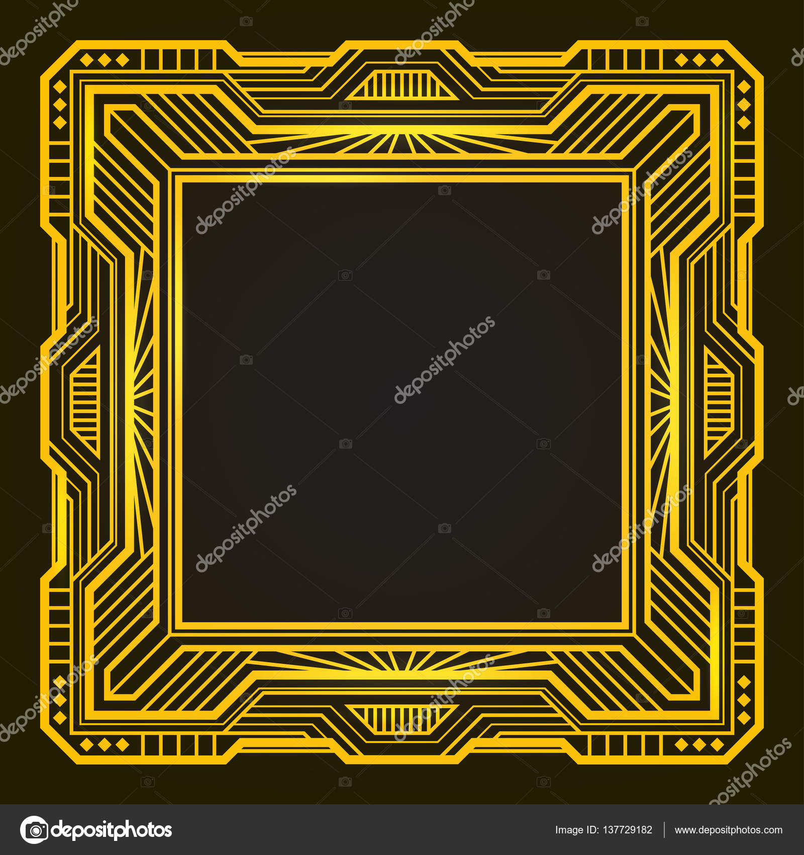 Square Golden Retro Frame Art Deco Style Of 1920s Stock Vector