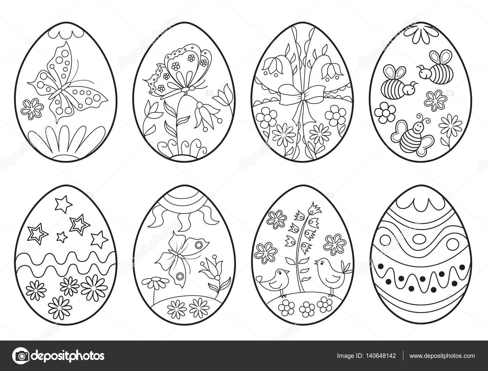 Set of decorative Easter eggs. Coloring page. — Stock Vector ...