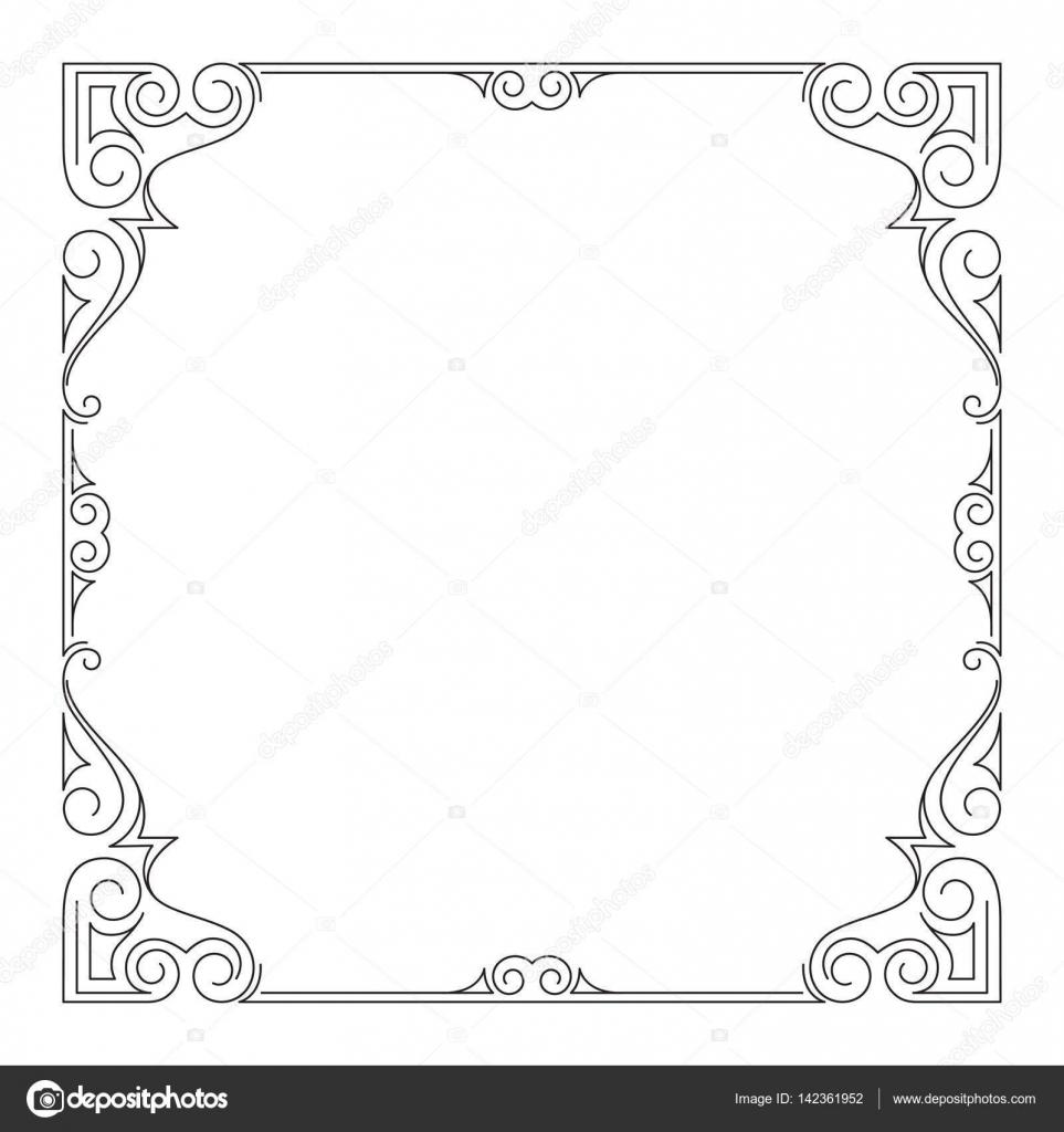 Reich verzierte quadratischen schwarzen Rahmen — Stockvektor ...