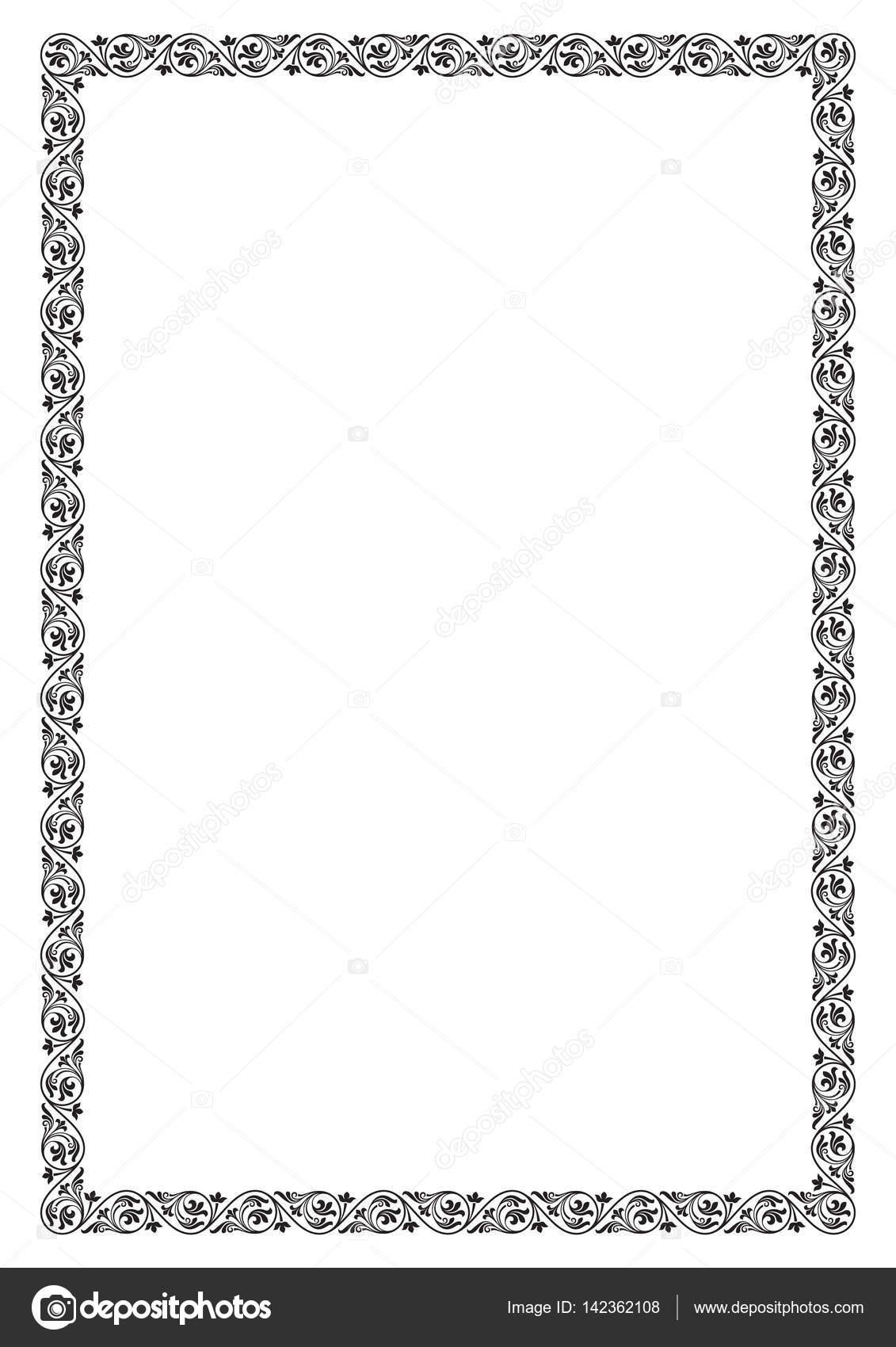 Reich verzierte rechteckigen schwarzen Rahmen. A4 Seite Proportionen ...