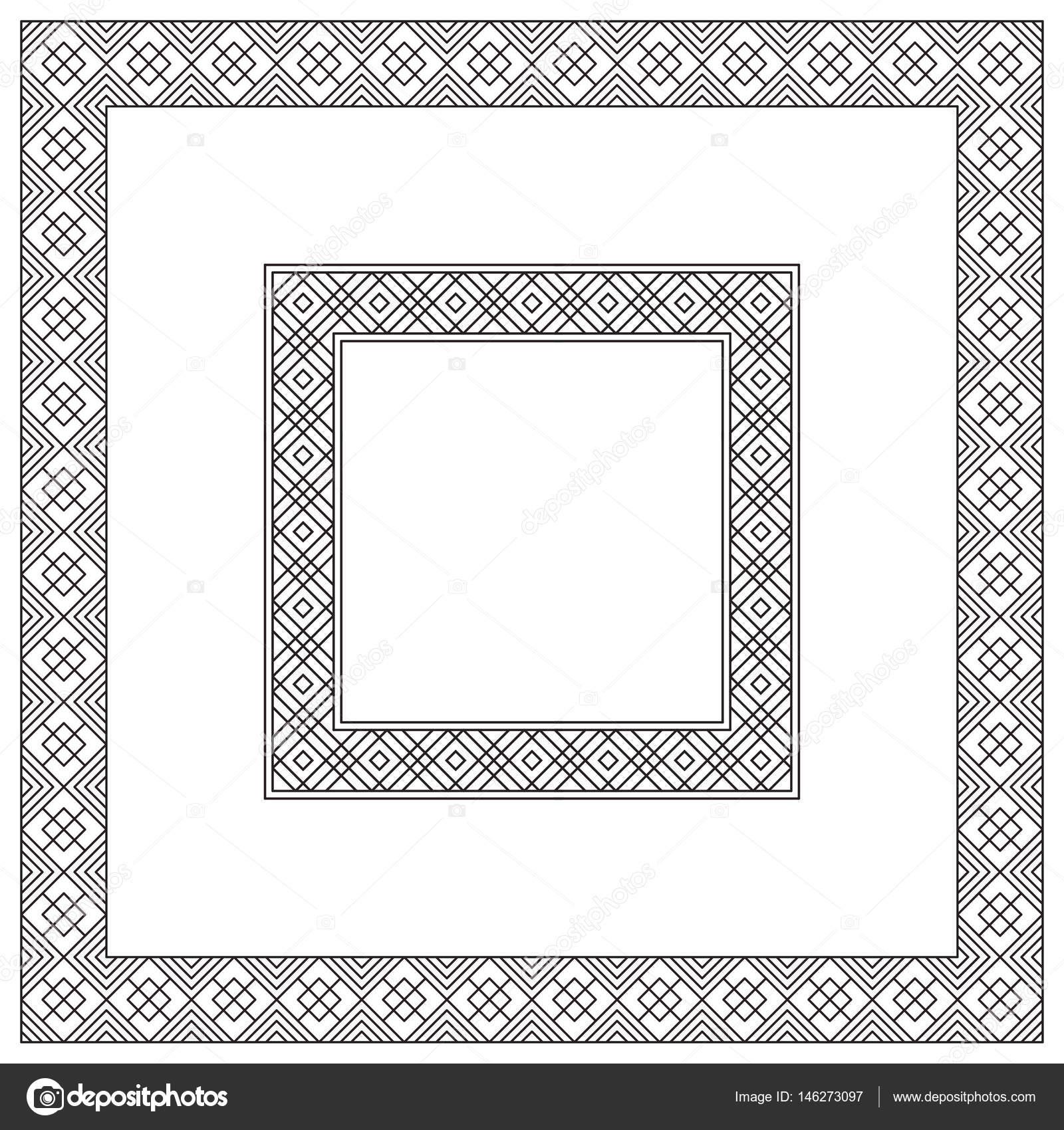 Marcos cuadrado negros, patrón geométrico. Diferentes tamaños ...