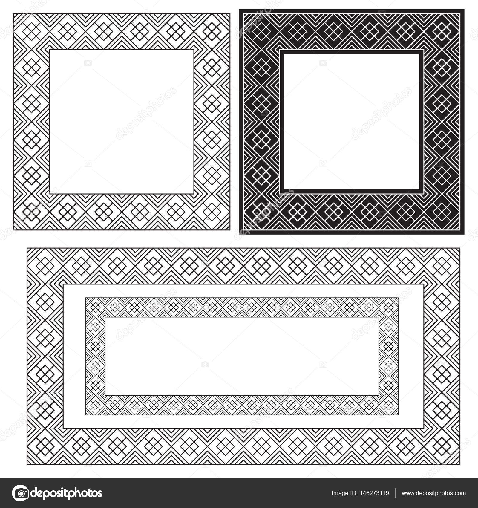 Square and rectangular black frames, geometric pattern. — Stock ...