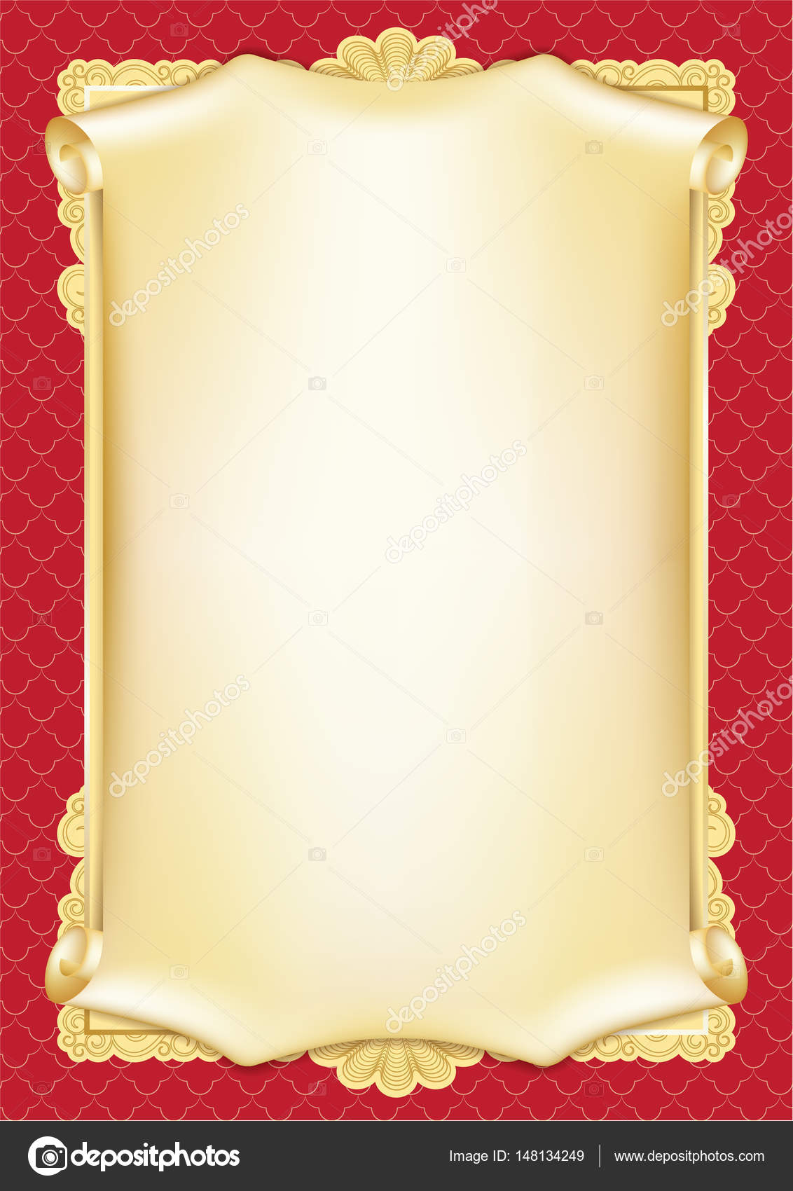 Template for diploma, certificate, card with scroll and decorative Regarding Scroll Certificate Templates