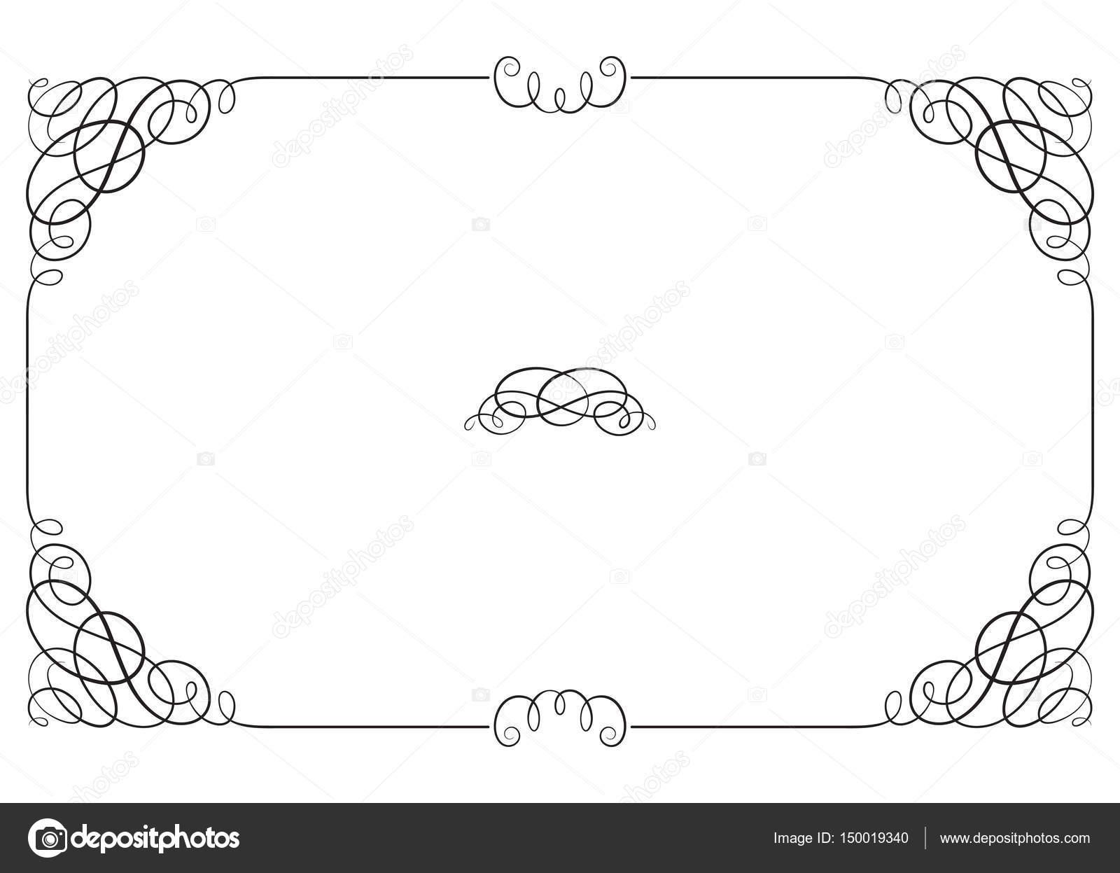 Schwarze rechteckige verzierten Rahmen mit Vignette Ecken. Vignette ...