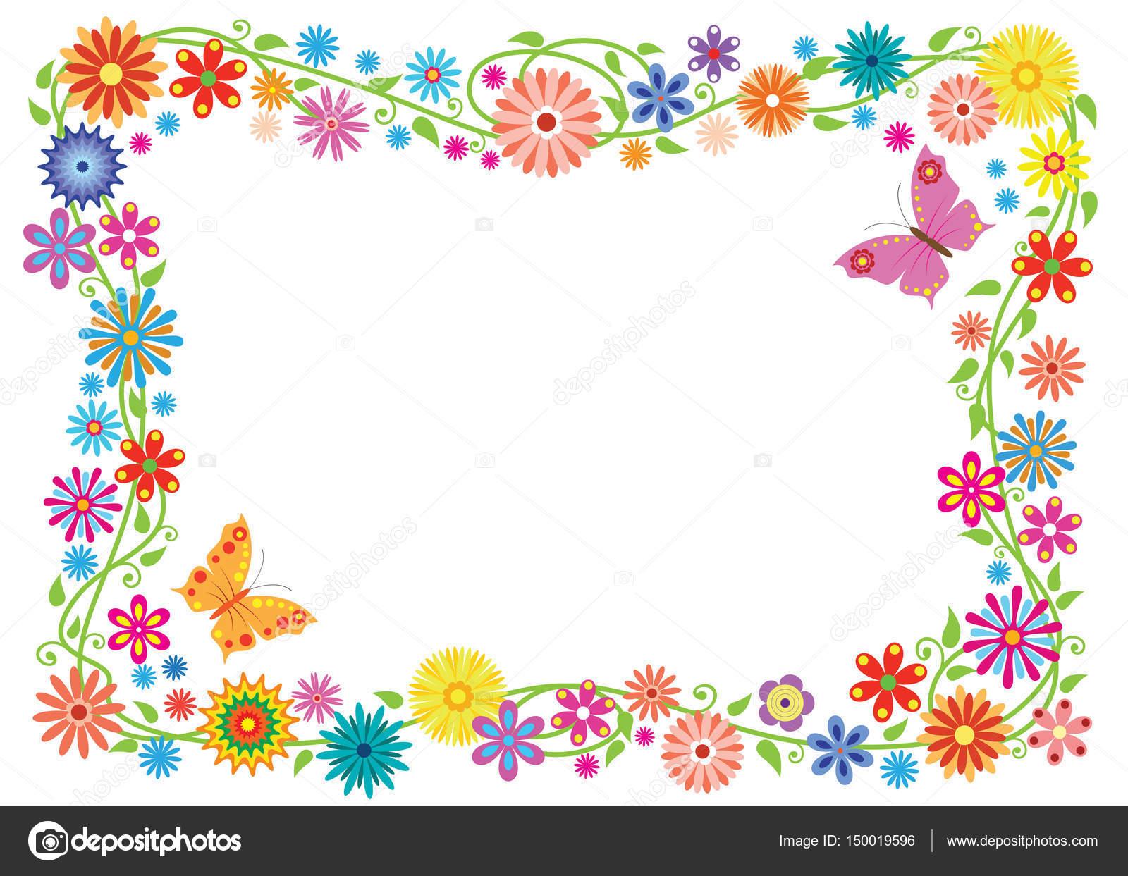 Marco de verano formada por mariposas y flores de fantasía. Sin ...