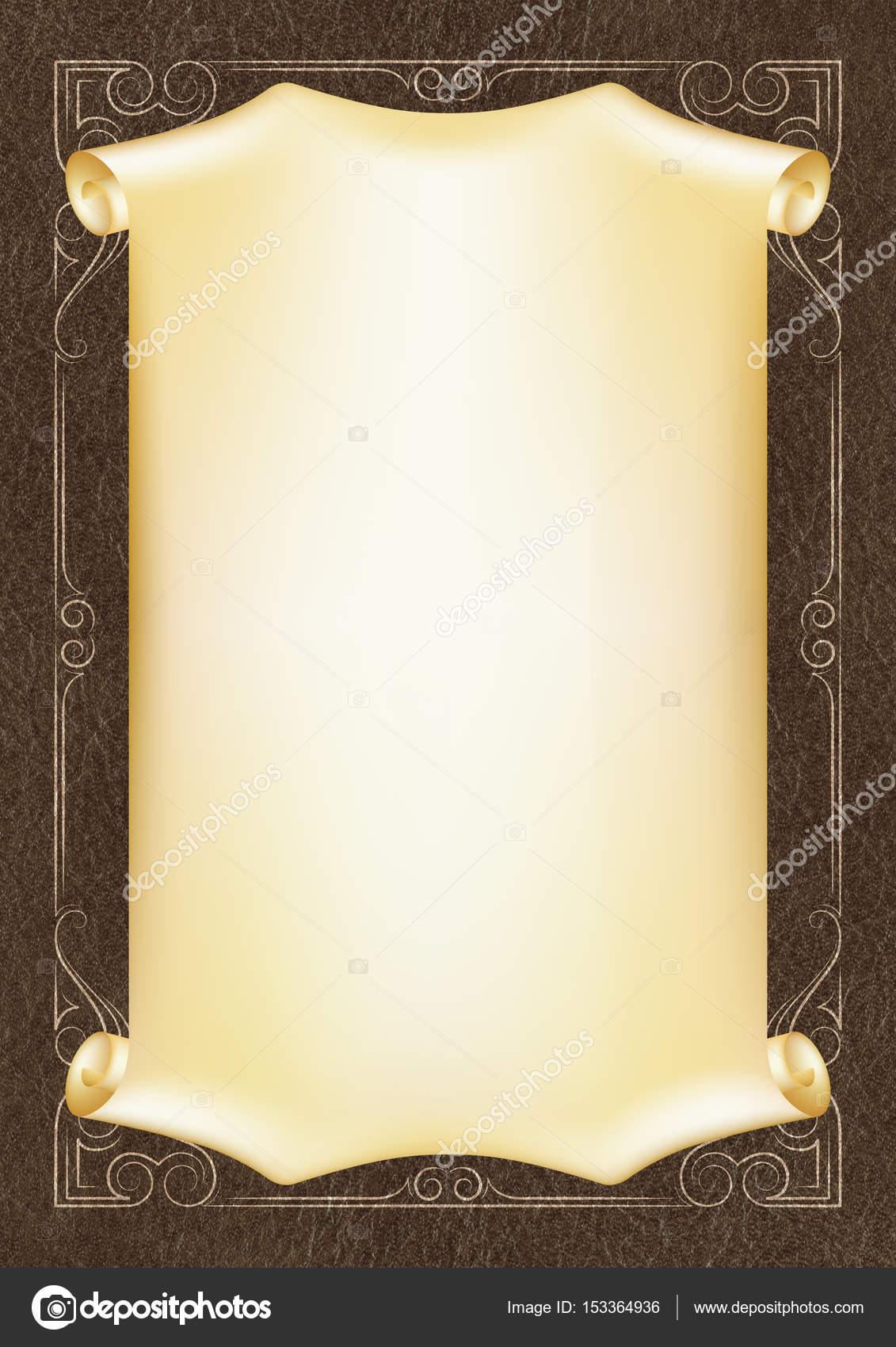 Vorlage, Hintergrund mit einem goldenen Rahmen und Scroll auf Stück ...