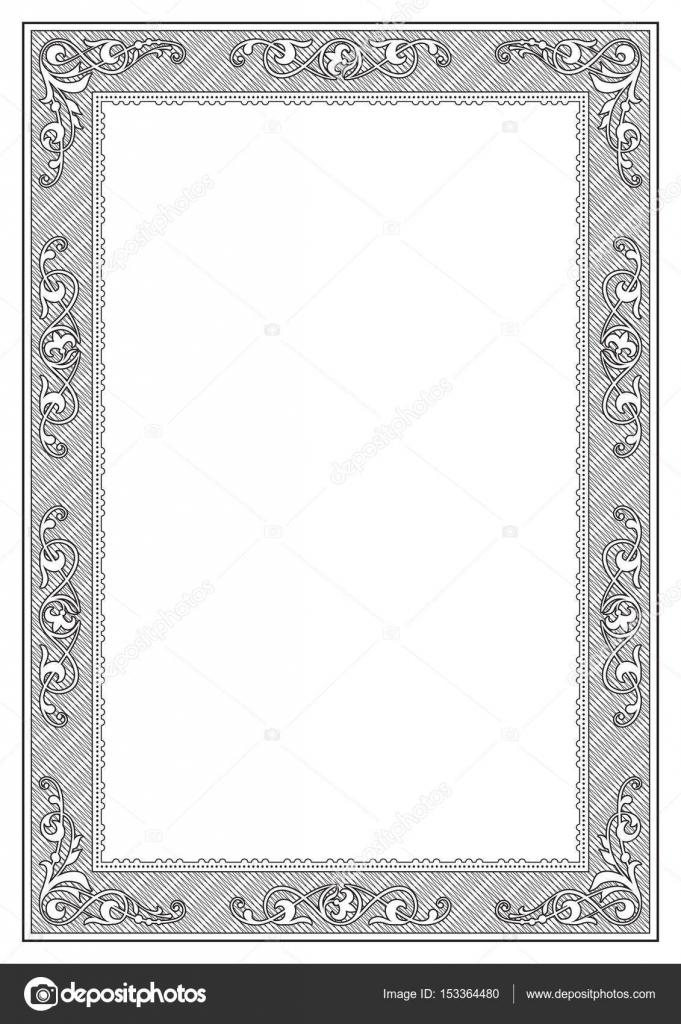 Schwarze rechteckige verzierten Rahmen, Vorlage für die Titelseite ...