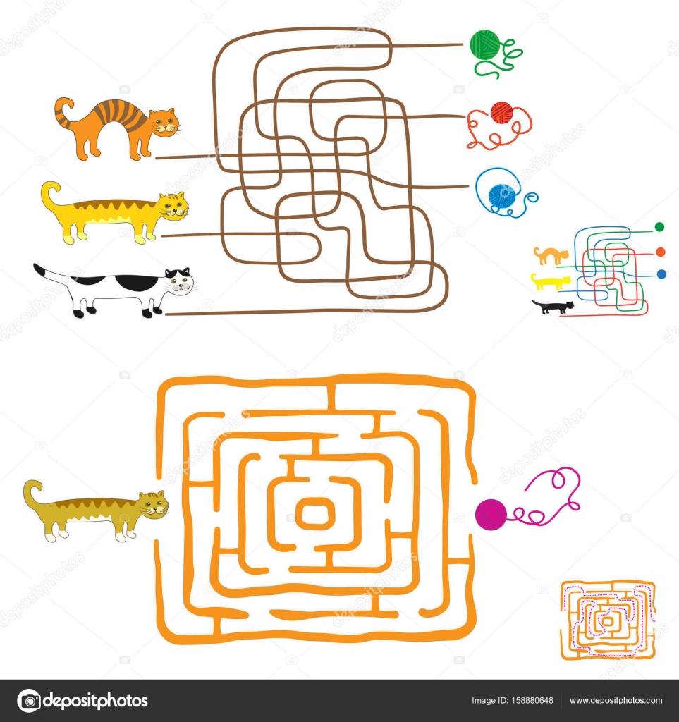 幼児の迷路ゲーム方法または一致の要素を見つけますおかしい子猫と