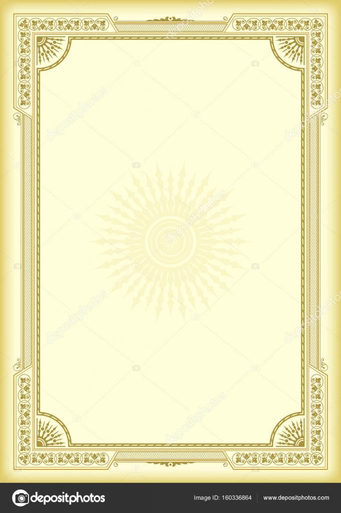 Dekorative Rahmen auf gelben, goldenen Hintergrund. Vorlage für ...