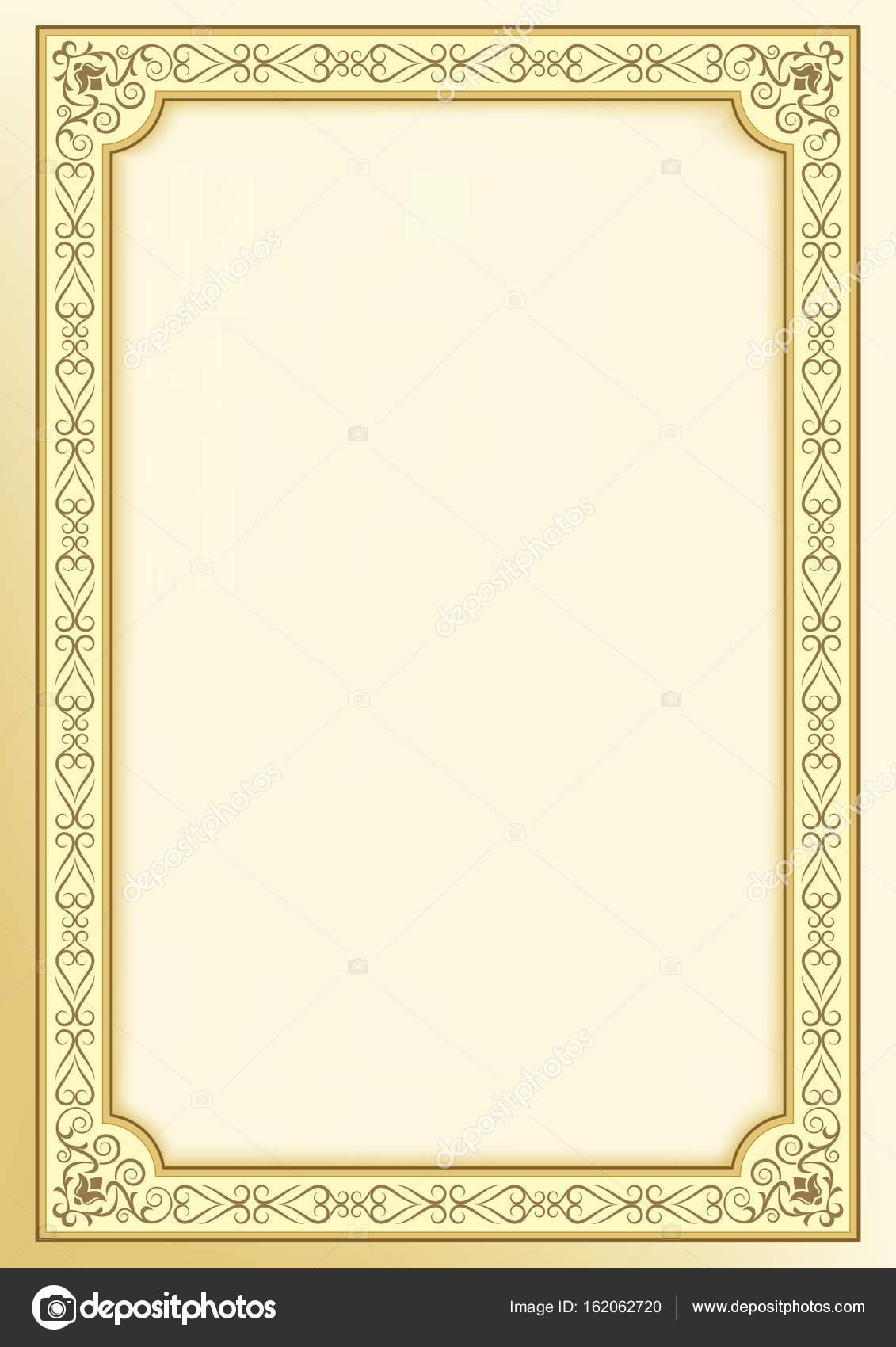 Dekorative goldene Rahmen auf Hintergrund. Vorlage für Zertifikat ...