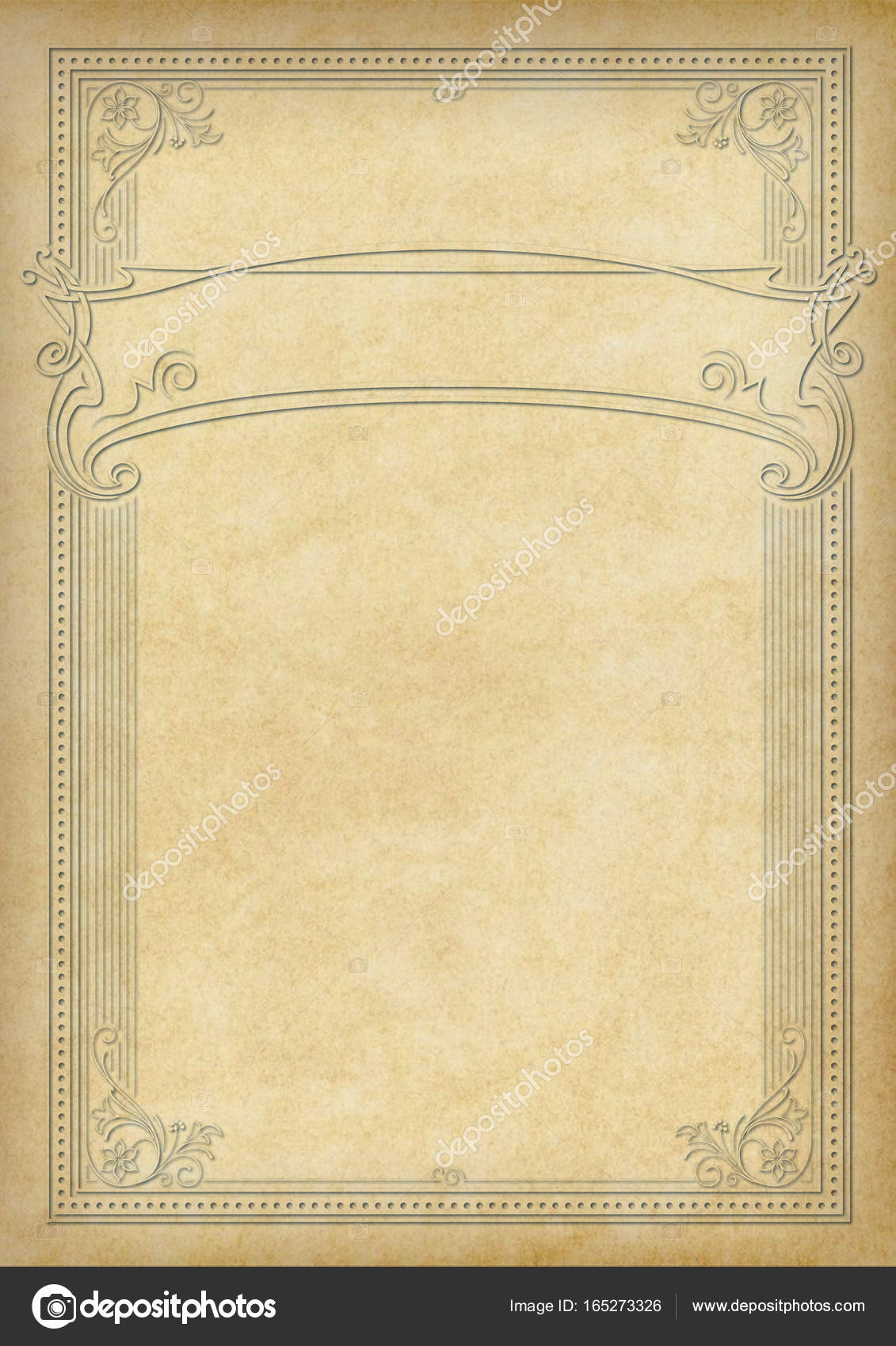 Marco rectangular decorativo y banner en pedazo de pergamino ...